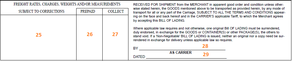 Bill of Lading example template including prepaid and collect information
