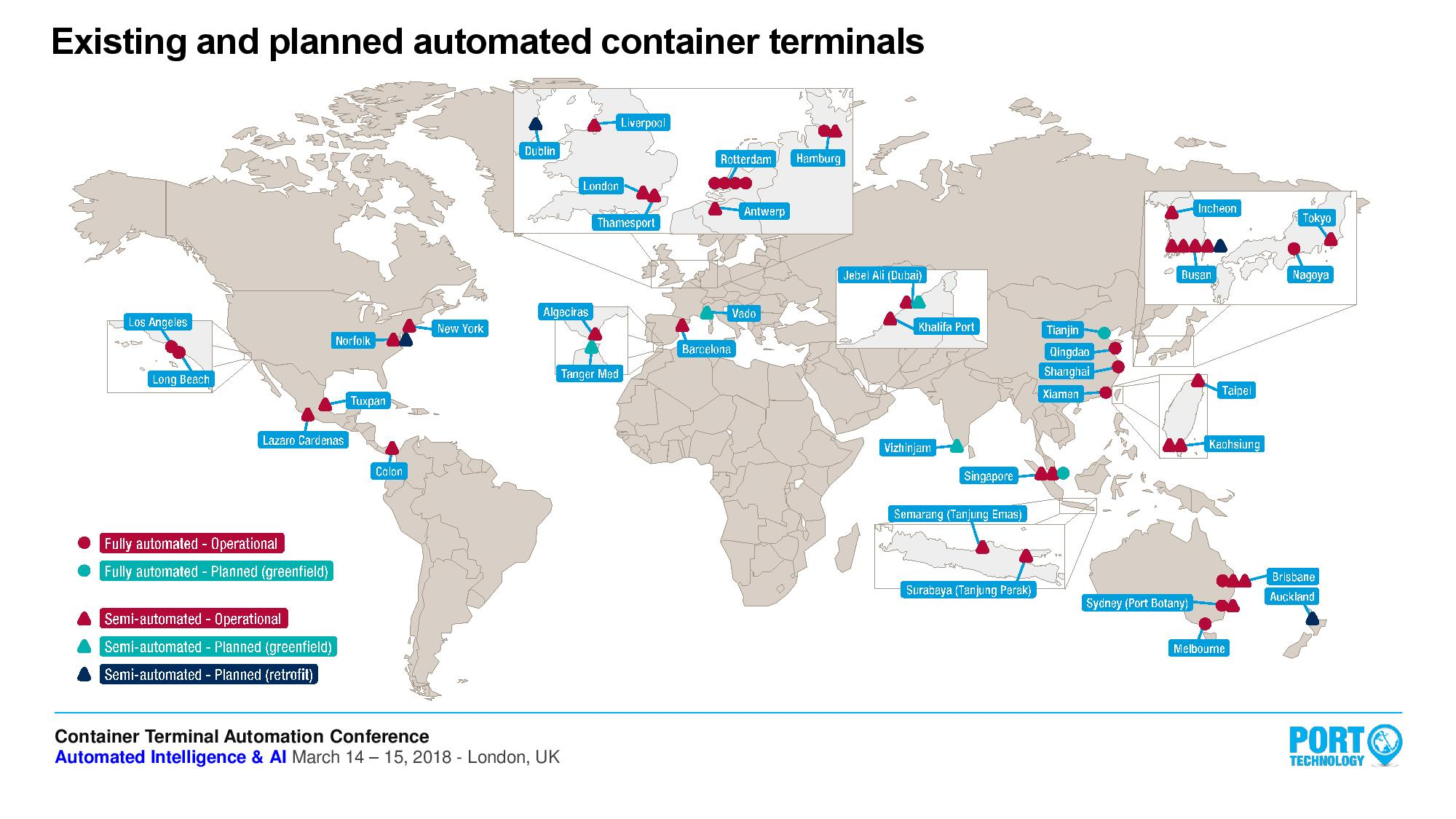 Existing and planned automated terminals in the world